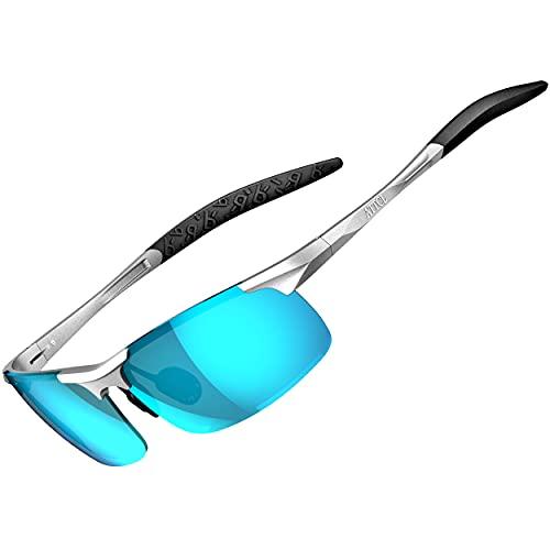 ATTCL Uomo Occhiali da sole polarizzati per guidare gli uomini Al-Mg Metallo Cornice Super Light 8177 BLU argento