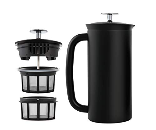 ESPRO P7 Double Walled Stainless Steel Insulated Coffee French Press, 32 Ounce, Matte Black