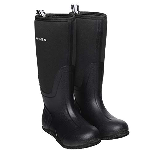 Hisea Rubber Women's Hunting Boots Waterproof Insulated Mid-Calf Rain Boots Neoprene Muck Outdoor Boots Women Black