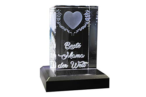 VIP-LASER | 3D Kristall | Motiv: Fliegende Herzen | Beste Mama der Welt (incl. LED-Leuchtsockel (empfohlen))