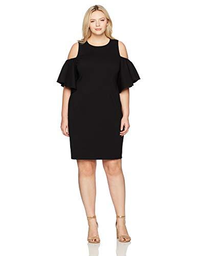 Eliza J Womens Plus Size Cold Shoulder Dress Short-Sleeve Dress - Black -
