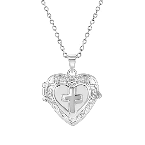 925 Sterling Silver 16' Cross Heart Locket Pendant Necklace for Young Girls - Religious Girl Cross Jewelry for Daily Accessory - Little Girl's Tiny Photo Lockets Engraved with a Cross Design