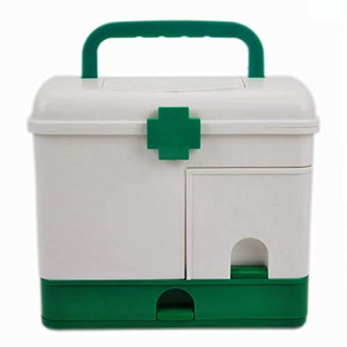 NYDZDM Medizinischer Kunststoff-Aufbewahrungsbehälter Großer Doppelschicht-Kasten Erste-Hilfe-Kasten for Unterbett-Aufbewahrungsbehälter (Color : Green)