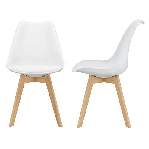 [en.casa] 2er-Set Design Esszimmerstühle 81 x 49cm Weiß PU-Kunstleder Polsterstuhl Stühle Wohnzimmerstuhl Küchenstuhl