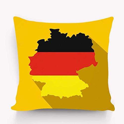 sherry-shop Wurfkissen Kissenbezug Karte Deutschland Flagge Deutschland Symbol Karte Deutschland Flagge Bundesrepublik Deutschland Symbol Flat Style Gelb 20X20IN