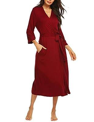 URRU Women's Robes Cotton Knit Kimino Robe Lightweight V-Neck Long Bathrobe Soft Loungewear Wine Red S by