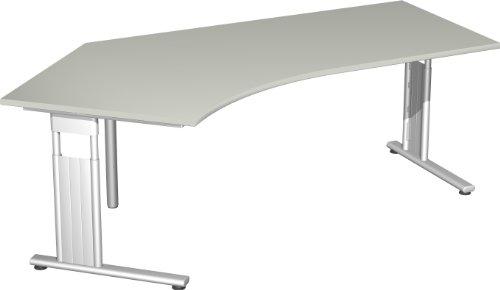Schreibtisch Freiform 135° links, höhenverstellbar BxTxH 216,6x113x68-82cm Lichtgrau/Silber