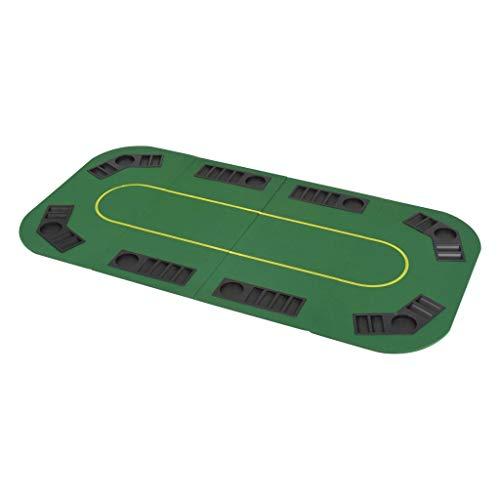 vidaXL Tablero Póker Plegable 8 Jugadores Rectangular Verde Mesilla Auxiliar