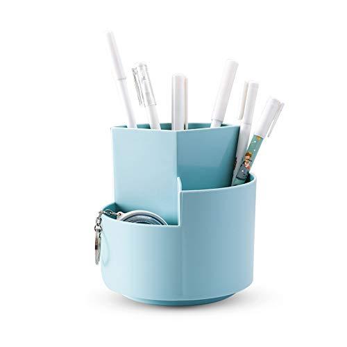 XGzhsa Portalápices originals, organizador de escritorio creativo, portalápices giratorio multifuncional para escuela, oficina, papelería, pinceles de maquillaje (Azul)