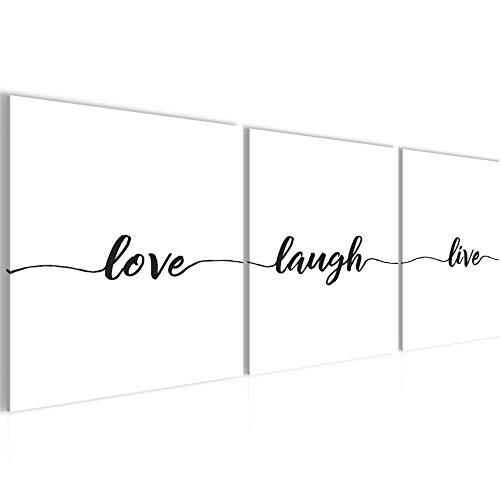 Spruch Live Love Laugh Bild bequem Aufhängefertig - 90 x 30 cm Bilder - Vlies Leinwand - Deko für Wohnzimmer -Kunstdruck,Wandbild - XXL 3 Teilig Teile - leichtes Aufhängen- 807434a