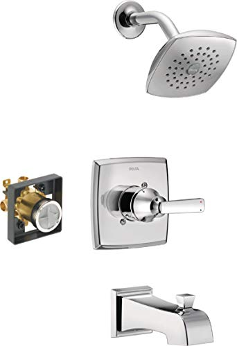 Delta Faucet Ashlyn 14 Series Single-Handle Tub and Shower Trim Kit, Shower Faucet with Single-Spray Touch-Clean Shower Head, Chrome T14464 (Valve Included)