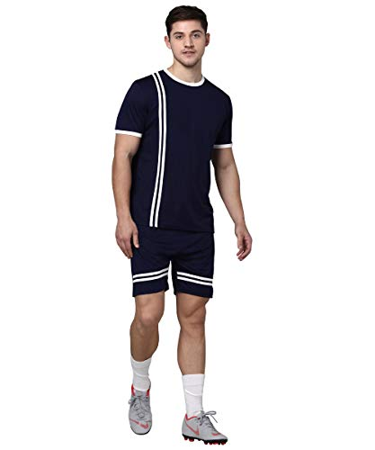 Bepro Adults Mens Football Soccer Set of Jersey with Shorts (Navy Blue, X-Large)