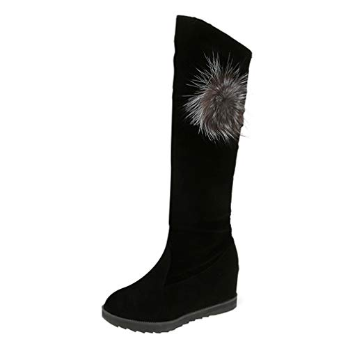 Women's Faux Suede Boots Ladies Stylish Knee High Boots Plush Rhinestone Decoration Long Boots Autumn Winter Warm Snow Boots