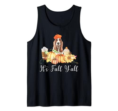 It's Fall Y'all Funny Dog Lover Basset Hound Autumn Pumpkin Camiseta sin Mangas