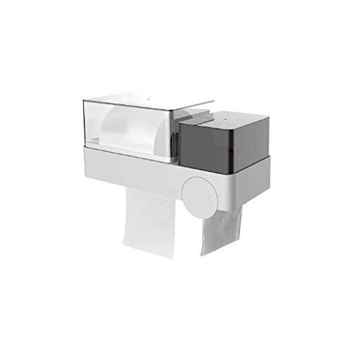 ECSWP Papel higiénico-Holder Autoadhesivo Papel higiénico Titular, a Prueba de Agua dispensador de Rollo de Papel de múltiples Funciones montado en la Pared de baño Caja de pañuelos