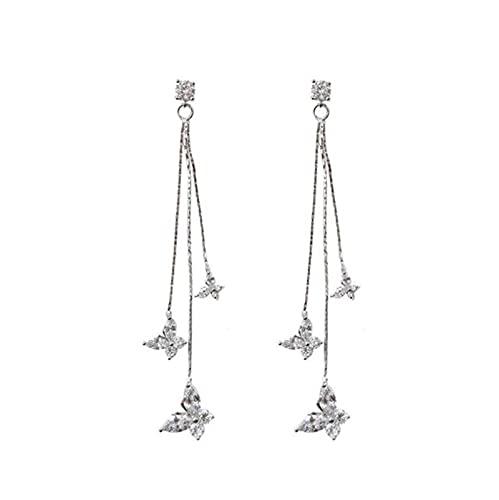 Caliente nuevo color plata aguja Willow hoja clip pendientes moda joyería temperamento simple largo borla pendientes para mujeres regalo