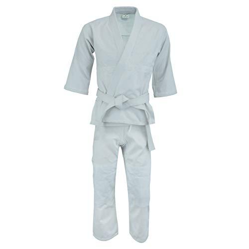 UFG Judo Single Weave Kids Adults Unisex Karate Gi Uniform - (Belt Included) (White, 0)