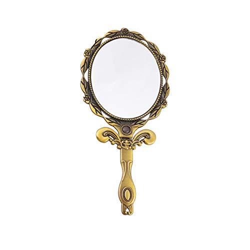 FRCOLOR Espejo de Mano Vintage Espejo de Mano Antiguo con Soporte Espejo Plegable Vintage Espejo Cosmético de Mano Bronce