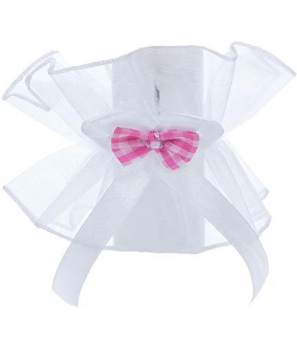 Princess Taufkleid Kerzentuch M 5 weiß/rosa Größe bis 5cm Tropfschutz Taufe