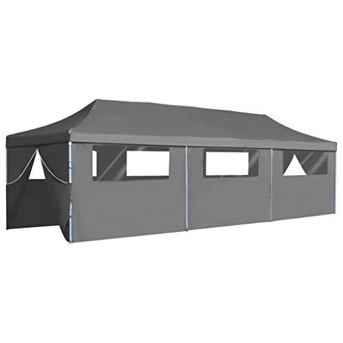 Tidyard Faltzelt Partyzelt Pavillons 3x9 m,Partyzelt Gartenpavillon Pavillon Pop-Up mit 8 Seitenwänden Gartenzelt für Outdoor-Events/Sportveranstaltungen/Hochzeiten,Anthrazitgrau