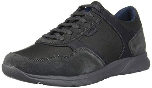 Geox U Damian A Herren Leder Sneaker Freizeit Schuhe-Grey-44