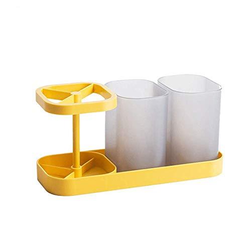 shuwen Porta spazzolino Denti, Scatola Bagno in plastica per spazzolini Denti e dentifricio, Pratico Porta spazzolino Denti per lavandino o mobiletto (Include 2 Tazze per collutorio)-Yellow