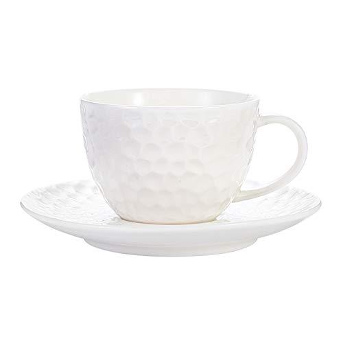 xilinshop Taza de café o Taza de té 7.1oz Copa de café Espresso con platillos Taza de té de cerámica de Porcelana, Taza de diseño de diseño Martillado, Blanco Tazas de café novedosas
