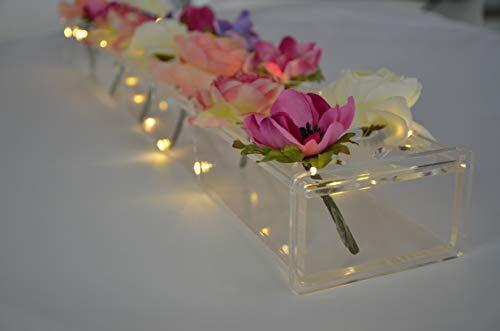 Rechteckiger Blumenaufsatz für den Esstisch – 61 cm lange rechteckige Vase – moderne Acrylvase – niedrig liegende einzigartige Blumenvasen für Heimdekoration oder Hochzeiten (LED klar)