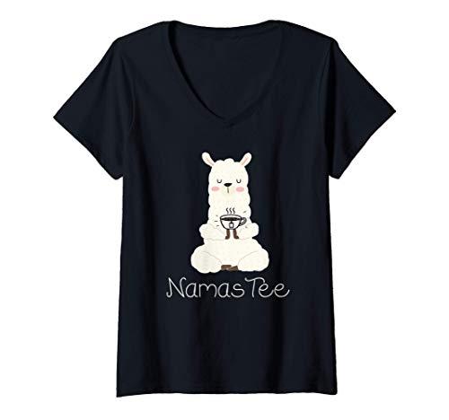 Damen Namaste Namas Tee lustiges Yoga Wortspiel mit Alpaka T-Shirt mit V-Ausschnitt
