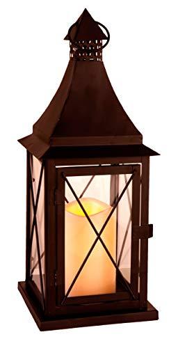 Best Season 066-85 Led-lantaarn, 1 kaars, werkt op batterijen, circa 37 x 14 cm, vierkleurig karton, zwart