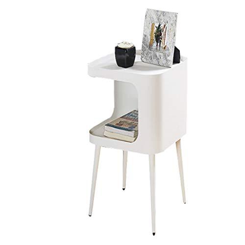 QIAOLI Mesita de noche nórdica cuadrada de hierro forjado, mesa de café esmerilada para dormitorio, mesita de noche, gabinete de almacenamiento para sala de estar (color blanco)