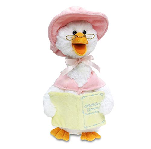 Cuddle Barn Mother Goose Animated Talking Musical Plush Toy, 14' Super Soft Cuddly Stuffed Animal Moves and Talks, Captivates Listeners by Reading 7 Classic Nursery Rhymes - Pink