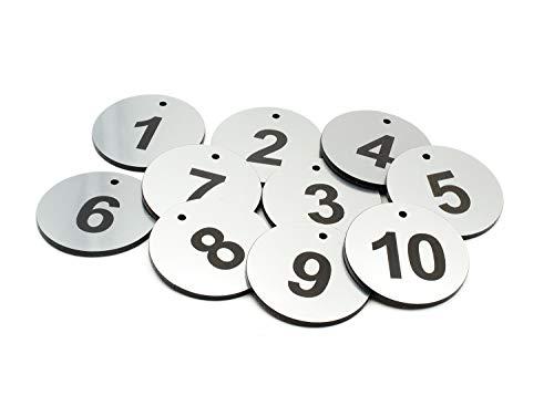 Origin Schlüsselanhänger aus Acryl, rund, silberfarben, 1 bis 10 nummeriert – mit schwarzer Gravur, für Hotels, Pensionen, B&Bs, Unternehmen
