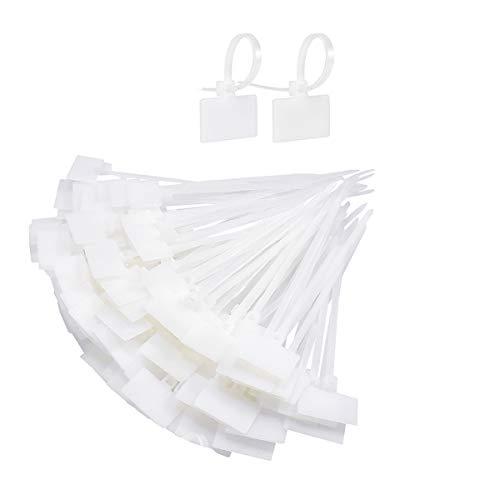Kissral 200pcs Bridas Plastico Blancas Pequeñas Etiqueta de Cable Organizador de Cables Escritorio para Cables USB Linea de Television Cable de Red Oficina Viaje Marcado de Alambre