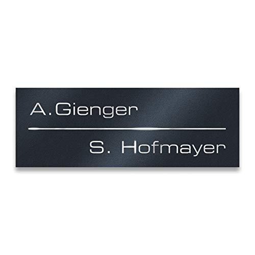 Metzler Briefkastenschild in Anthrazit 8,5 x 3 cm - Namensschild aus Edelstahl (RAL 7016) - Selbstklebend - Türschild oder Briefkastenschild inkl Lasergravur - Namenschild