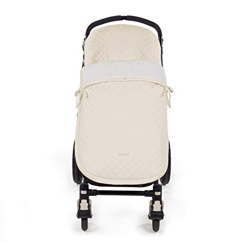 Pasito a Pasito. Saco Silla María uso universal. Funda cubre silla de paseo, cochecito, bugaboo. Adaptable a invierno y verano con reposapiés plastificado para su fácil lavado. Color Beige.
