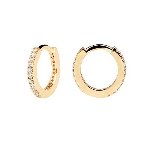 PDPAOLA - Pendientes Aros White Mini - Plata de Ley 925 Bañada en Oro de 18k - Joyas para Mujer