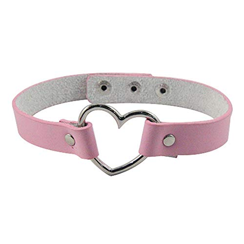 Vektenxi - Gargantilla de Piel sintética con Remaches góticos y Remaches en Forma de corazón para Mujer, Color Rosa