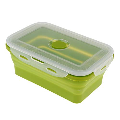 Baoblaze Boîte à Lunch Pliante en Silicone Boîte Repas Lunch Box Récipient de Nourriture - 1200ML Vert