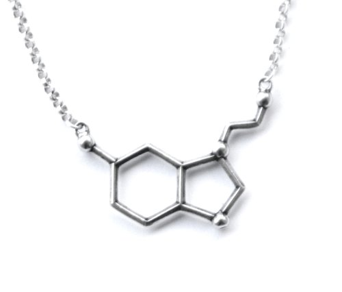 sterling silver serotonin molecule cast necklace
