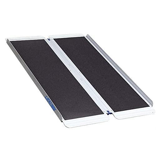 Liekumm Rampa de umbral antideslizante plegable portátil de aluminio para umbrales, escaleras (MR607MW-4) (L120 cm x W76 cm x H5 cm)
