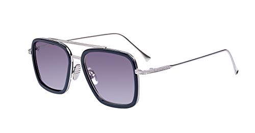 LHSDMOAT Gafas de sol para hombres y mujeres, gafas de sol retro con montura metálica Iron Man Edith Gafas de sol vintage Tony Stark Nerd Gafas cuadradas