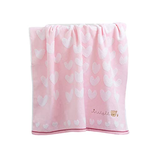ZRJ Toallas de baño para el hogar, toallas de playa, diseño de dibujos animados, de algodón suave, peso ligero y secado rápido, ideal para alberca, sauna, hotel (color: rosa)