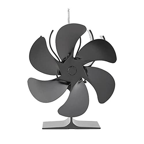 Linsition Ventilatore per stufa a 6 pale, ventilatore per stufa, funzionamento silenzioso, ventola per legna da ardere e legna da ardere, circolazione del calore sicura ed ecologica