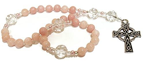 Anglican Prayer Beads of Peach Jade, Sturdy Celtic Cross