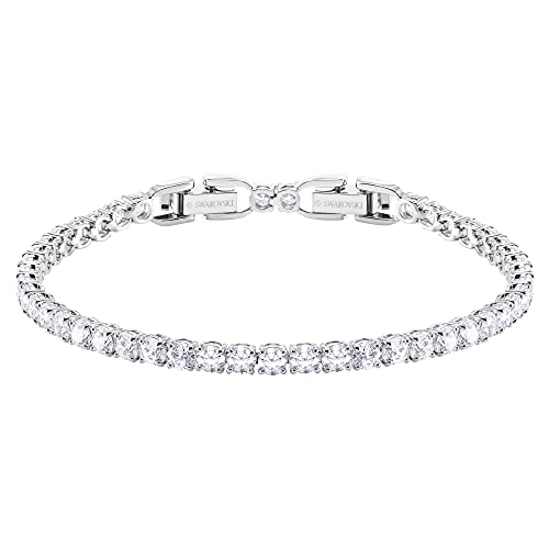 Swarovski Tennis Deluxe Collection Women's Tennis Bracelet, Sparkling White Crystals with Rhodium Plated Band