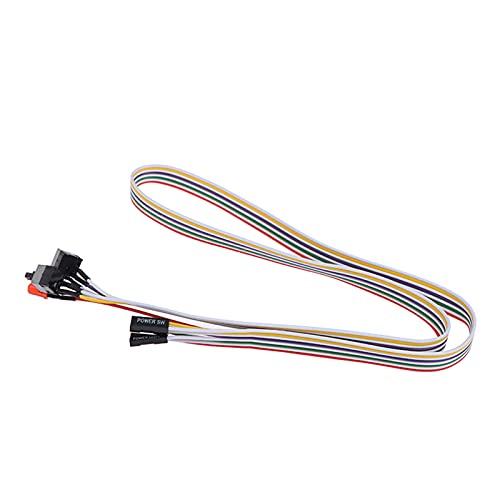 Bartholomew Cable de alimentación para PC con luz LED para carcasa de ordenador de sobremesa, botón de reinicio, fuente de alimentación, cable de conmutación HDD