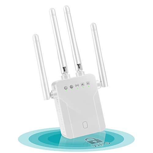 Chalpr Ripetitore WiFi Wireless, 1200 Mbps WiFi Extender, velocità Dual Band 2.4GHz/5GHz Amplificatore Segnale Wi-Fi, Supporta la modalità AP/Ripetitore/Router/Cliente, Area di Copertura 250㎡ (Bianco)