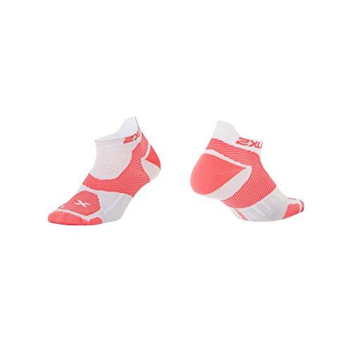 2XU Damen Race VECTR Socken, Damen, Weiß/Fiery Coral, Medium