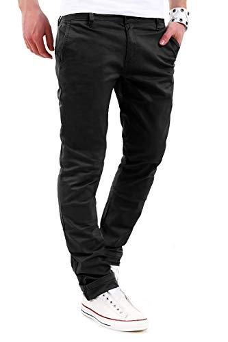 behype. Herren Basic Chino Jeans-Hose Stretch Regular Slim-Fit 80-0310,Schwarz,36W / 32L